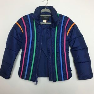 90's Vintage Stripped Puffer Jacket